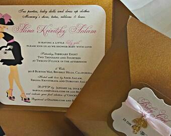 Baby Shower Invitation - Designer Inspired Mommy to Be Invitation - Couture Baby Shower Invitation -