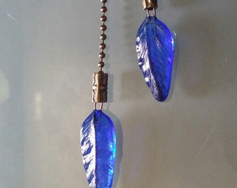 "Light Pull 1.75"" Blue Feather True Blue Handmade Glass on Bronzetone Ball Chain Ceiling Fan Light Pull Pair"