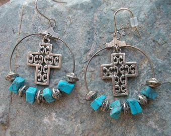 Turquoise Cross Cowgirl Earrings