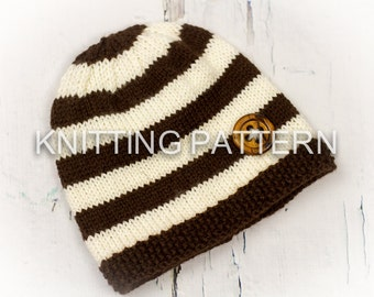Knitting Pattern - Hendon Beanie Hat - Child to Large Adult - Aran weight yarn - Instant Download