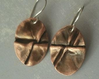 Copper earrings - fold formed earrings - tribal earrings - rustic earrings - boho earrings
