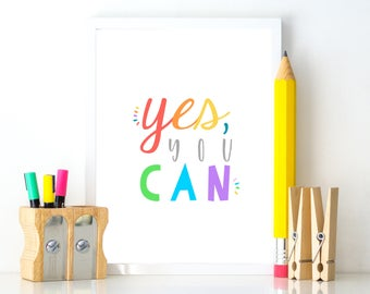 Classroom Decor INSTANT DOWNLOAD Yes You Can print positive affirmations classroom poster printable growth mindset teacher appreciation gift