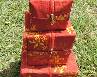 Eye-catching three storage/decorative boxes in African print