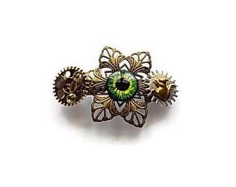 steampunk - steampunk pin - accessory - hair barrette hair - eye - teen - women - gift idea - handmade - handcrafted - squirrel