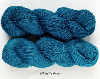 Drafts No. 48 and 49 - turquoise blue green semisolid hand dyed yarn - fingering sock merino nylon - Rosamunde and Christie - 100 grams