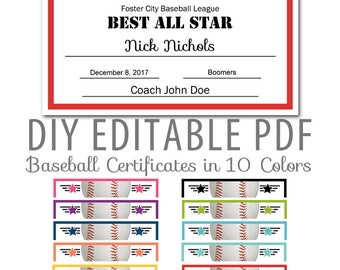 Baseball certificate etsy editable pdf sports team baseball certificate award template in 10 colors letter size instant download yadclub Choice Image