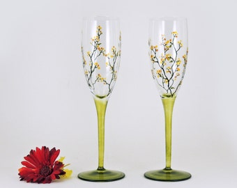 Hand painted flutes - Set of 2 champagne glasses - Louisa Collection with yellow and gold berries