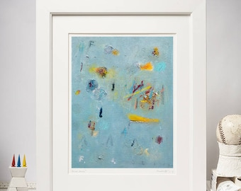 """Abstract Expressionism Print of Oil Painting, Abstract Fine Art Print, Blue, Yellow, Cyan, Colorful, Contemporary Paper Wall Art, 8,5x11"""""""