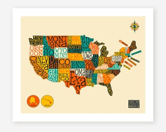 UNITED STATES MAP (Giclée Fine Art Print/Photo Print/Poster Print) by Jazzberry Blue