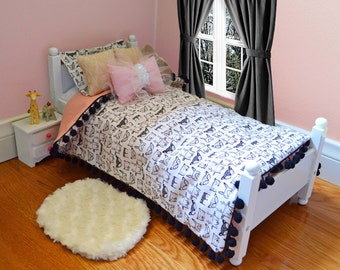 Scandinavian doll bedding set, animal print, pom-pom, gold knit pillows, bow pillow with sequin