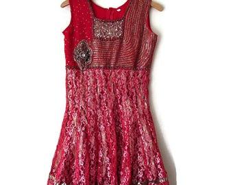 Gold Sequin Dress Red Sequin Dress Indian Dress Evening Dress Party Dress Holiday dress Vintage Dress Short Dress  Red Evening Dress Size XS
