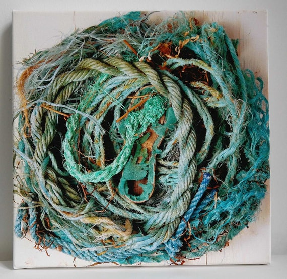 Fineartprint Beach goods collage rope