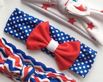 Patriot headbands for girls – 4th of July - baby headbands – Baby Girl Headband Set - Toddler Headband - Newborn Headband - Stretch Headband
