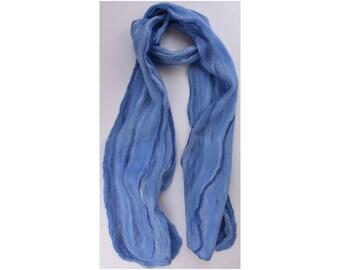 Merino / Silk Cobweb Felted Scarf - Water