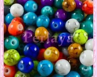 Mix of 100 glass beads 8mm mottled effect REF2261