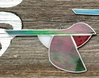 Hummingbird, in flight,  stained glass ornament