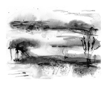 minimalist abstract watercolor black and white art print watercolor landscape painting modern art print abstract landscape ink painting