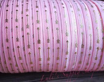 1 yard - Foil Print Pink and Gold Arrows FOE - 5/8 Fold Over Elastic  Pink & Gold Foldover Elastic - printed FOE - Elastic by the yard - DIY