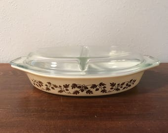 Golden Acorn Divided Pyrex Baking Dish