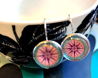 Compass Rose cabochon earrings- 16mm