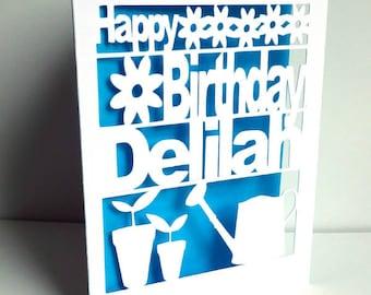 Birthday Card, Happy Birthday, Cut Out Card,  Happy Gardeners Birthday Card, Personalised Birthday Card
