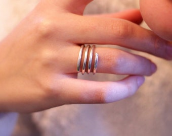 Silver Spiral Ring, Silver Adjustable Ring, Spiral Ring, Silver Adjustable Ring, Silver Ring, Silver wrap ring, Silver Open Ring, Under 50