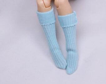 A022 Blue Handmade Colorful Doll Socks For Blythe Barbie Azone PP FR 1/6 Doll Clothes
