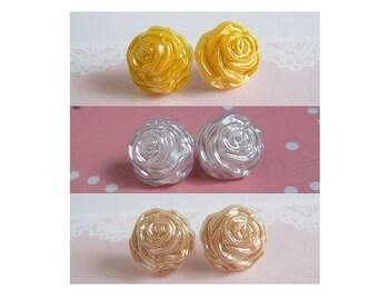 Rose Earrings, Stud Earrings, Silk White Rose, Beige Rose, Or Yellow Rose, Sterling Silver, Stainless Steel Or Post