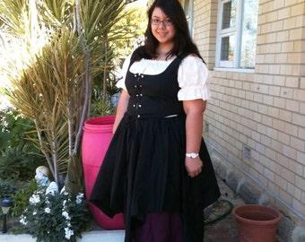 Romantic Renaissance Women Full Costume Plus Size Villager Wedding Theartical Dance Pirate Wench