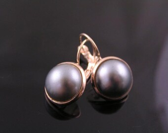 Large Gray Pearl Earrings in Rose Gold, Rose Gold Earrings with Pearls, Rose Gold Jewelry, Short Earring, Cabochon Earring, E1993
