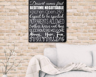 Grandparent's House Rules Canvas Print - Grandparent's Rules Canvas - Personalized Canvas Print - Grandparent's Gift Ideas - CA0147