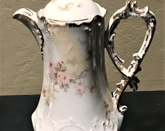 "Vintage Ceramic Unmarked Pink Floral Gold Trim 11"" Chocolate Pot Teapot Coffee Pot"