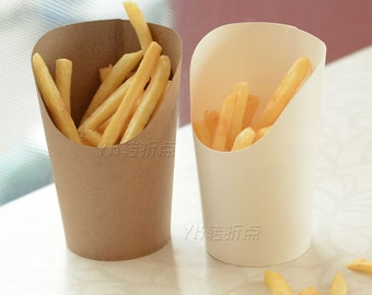 Fries cup kraft paper disposable cup beveled fries grilled chicken wings snack box  100pcs/lot