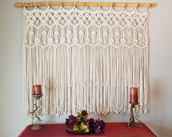 "Macrame Wall Hanging Wedding Arch Photo Backdrop Headboard Boho Decor Tapestry Large ""Harmony"""