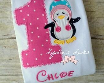 Girl penguin winter onderland birthday shirt