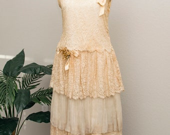 1920's lace and silk wedding dress