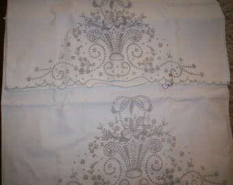 Antique Lace hand done embroidered pillow cases wedding gift