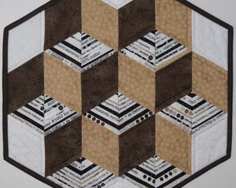 Quilted Table Topper, 3D Stacked Blocks, Selvedges, Brown Beige