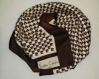 Vintage Pierre Cardin Paris Logo Square Scarf Brown And Ivory FREE SHIPPING