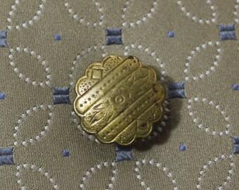 Antique Brass Stud Button, Shirt Button, Etched