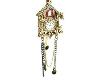 THE CUCKOO clock necklace pendant - jewelry with vintage style