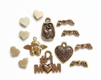 Lot of women's charms - cherub - heart - lipstick charm - angel wings - mom