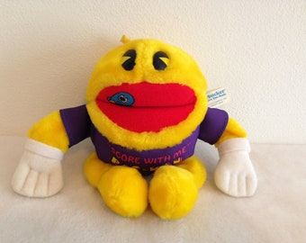 "Vintage ""Score with Me"" Pac-Man Knickerbocker Plush Stuffed Animal Toy"