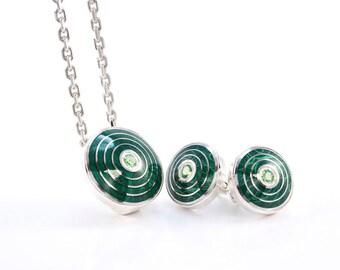 Dark Green Vitreous Enamel Set Sterling Silver Guilloche Enamel Tsavorite Gems Colorful Jewellery Silver Enamel