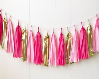 Free Shipping - Pink and Gold Tassel Garland - Wedding Decor - Room decor - Nursery Decor - Photo Prop