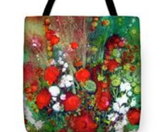 Explosion in Red Tote Bag