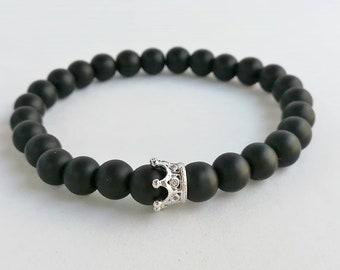 Matt Onyx - onyx bracelet - stainless steel crown - beaded bracelets - yoga bracelet - black bracelet - stretch bracelet - gemstone bracelet