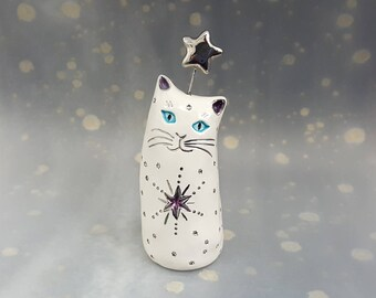 White Cat Ceramic Figurine with Silver Stars