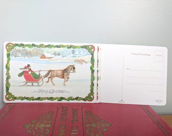 10 Merry Christmas Sleigh Ride Vintage Hallmark Post Cards 4x6 Inches