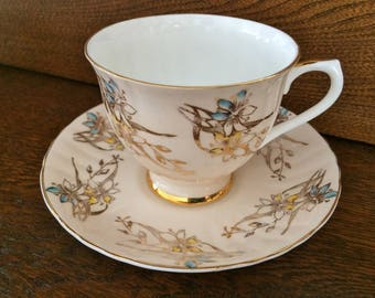 ROYAL GRAFTON CREAMY Gold Floral Teacup - Hand Painted Flowers Teacup - 1960's Teacup - Yellow Blue Gold Floral Teacup